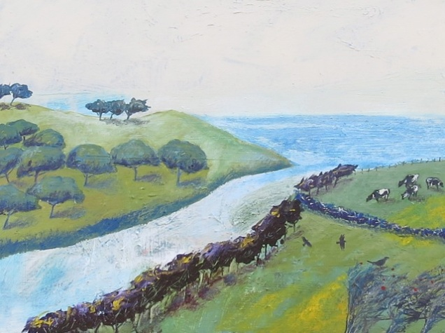 Around the Helford - mixed media on canvas